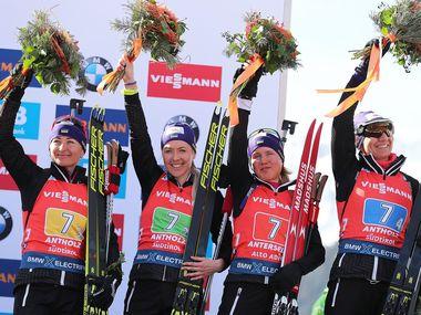 Українські біатлоністки здобули «бронзу» чемпіонату світу в Італії