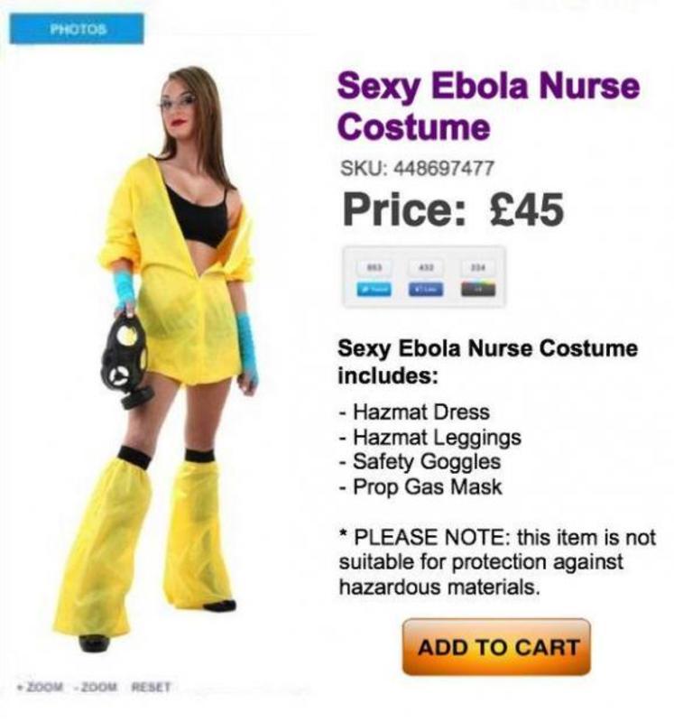 У мережі з'явилися сексуальні костюми медсестри у стилі Еболи