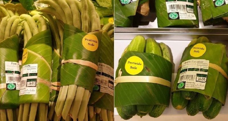 В Азії пластикові пакунки в супермаркетах замінили банановим листям